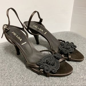 Prada Brown Satin Black Knotted Sandal 37.5 7.5